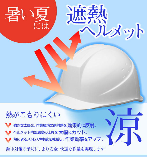 輻射熱を効果的に反射する遮熱ヘルメット