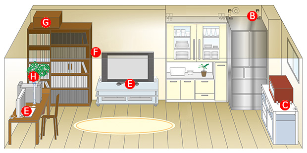 家庭の防災 冷蔵庫、テレビ、PC、書棚、食器棚の転倒に備える。
