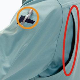 袖ペンポケット(左)・背アームノーフォーク