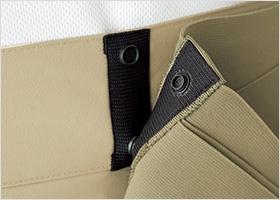 腰部保護ベルトの高さ調節ボタン