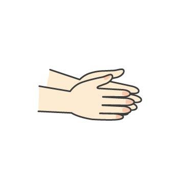3 次に手のひらによくすりこみます。