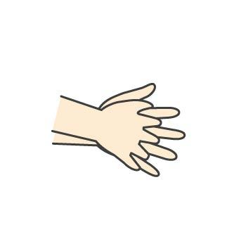 5 指の間にもすりこみます。