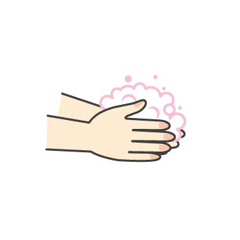 3 せっけんをよく泡たてながら、手のひらを洗います。