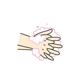 5 指の間もよく洗います。