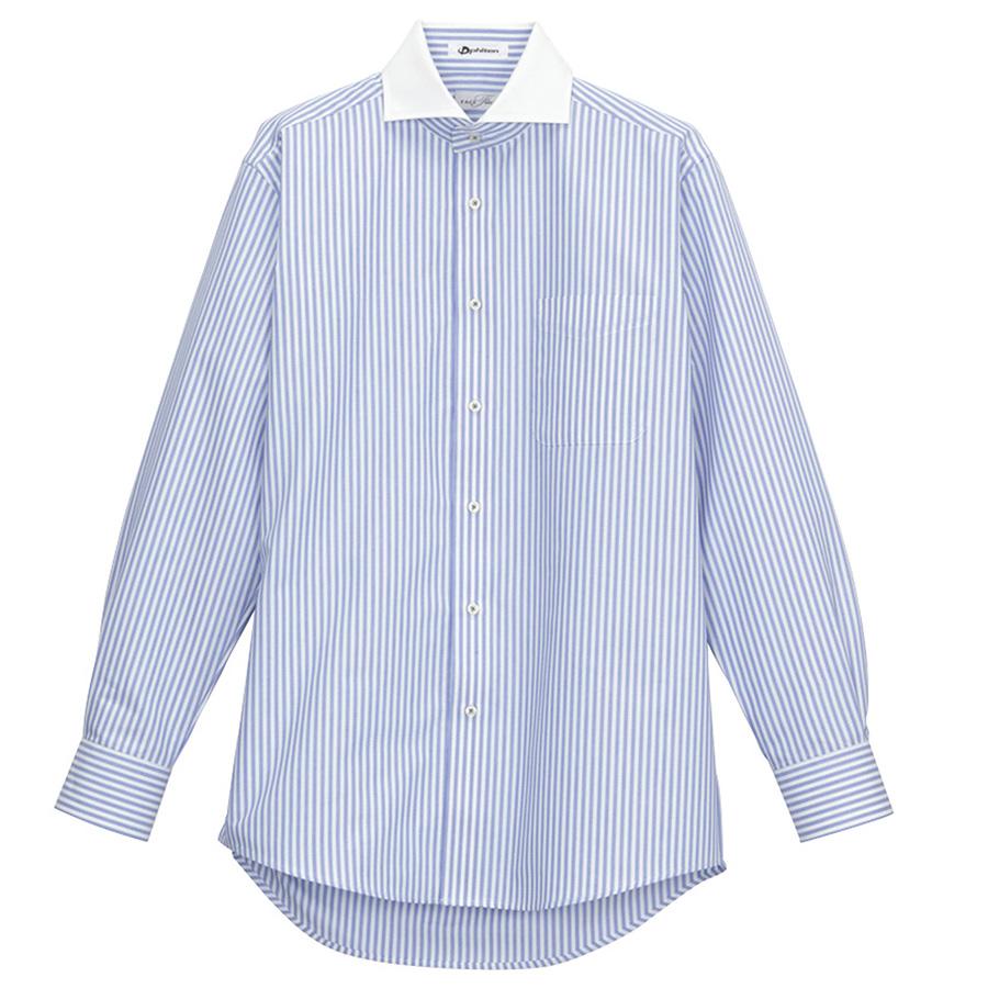 メンズ 長袖ドビーストライプシャツ FB5008M-7 ブルー